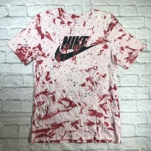 NIKE Custom Red Tie-Dye Galaxy Short Sleeve Shirt